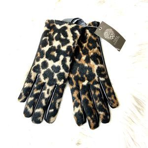 Vince Camuto Animal Fuzzy Faux Leather Gloves
